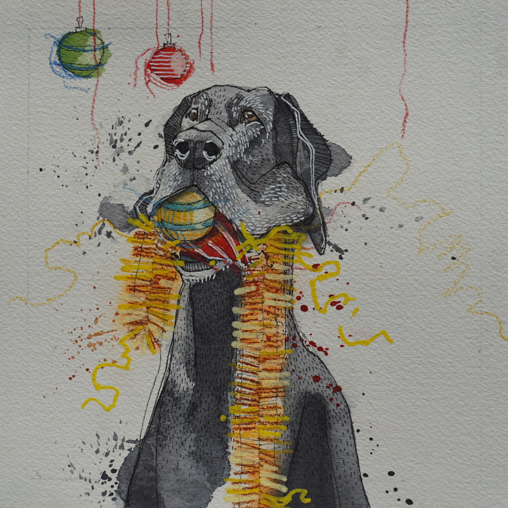 great dane with christmas balls & tinsel in mouth, pen, watercolour, soft pencil crayon & acrylic paint marker on cold pressed paper, 8x8(in), $100 + GST, 2017