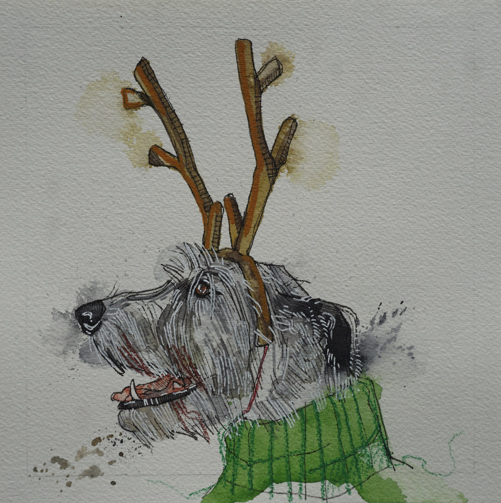 irish wolfhound with reindeer headband, pen, watercolour, soft pencil crayon & acrylic paint marker on cold pressed paper, 8x8(in), $100 + GST, 2017
