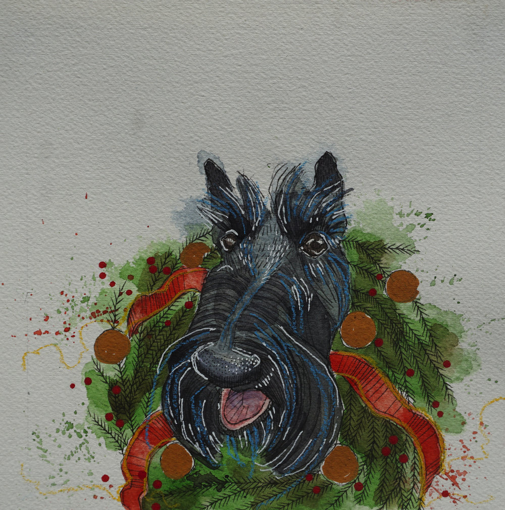 scottish terrier with wreath collar, pen, watercolour, soft pencil crayon & acrylic paint marker on cold pressed paper, 8x8(in), $100 + GST, 2017