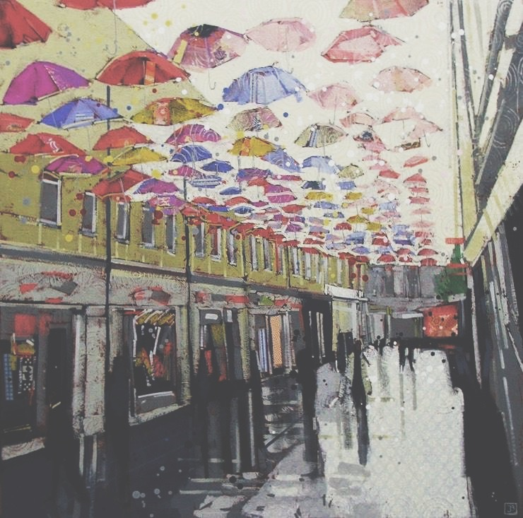 umbrella street (bath UK), mixed media on canvas, 30x30(in), $1575 + GST, 2017