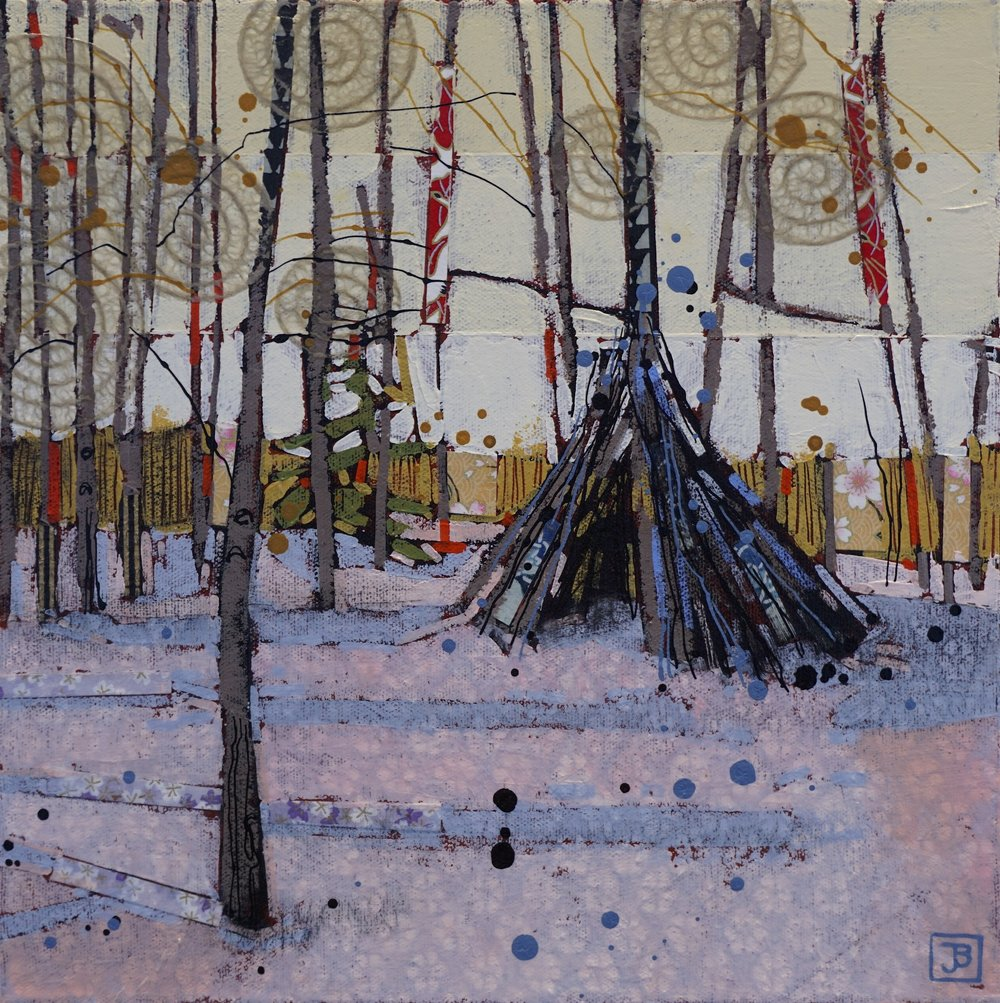 what i came across in the woods one winter (terwillegar dog park, edmonton),  mixed media on canvas, 12x12(in), $250 + GST,  2018