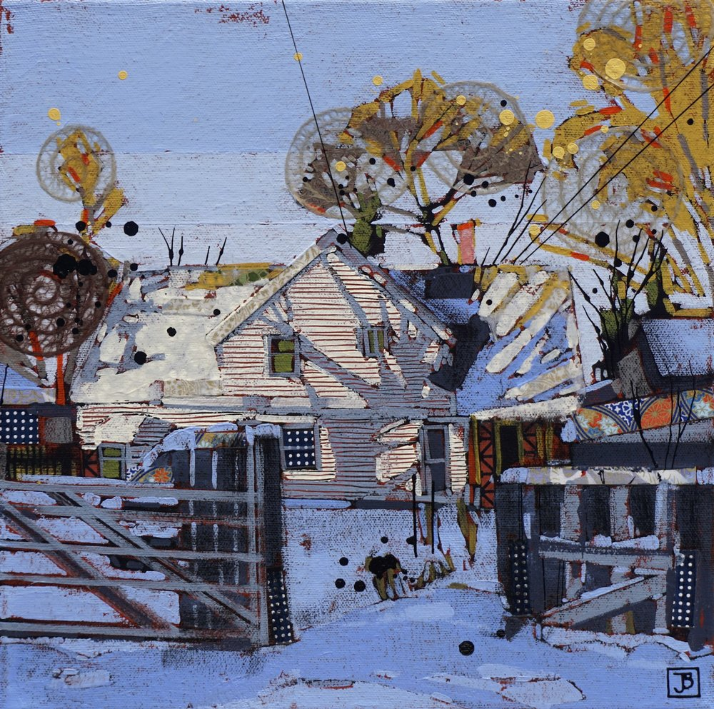 early winter afternoon II,  mixed media on canvas, 12x12(in), $250 + GST,  2018