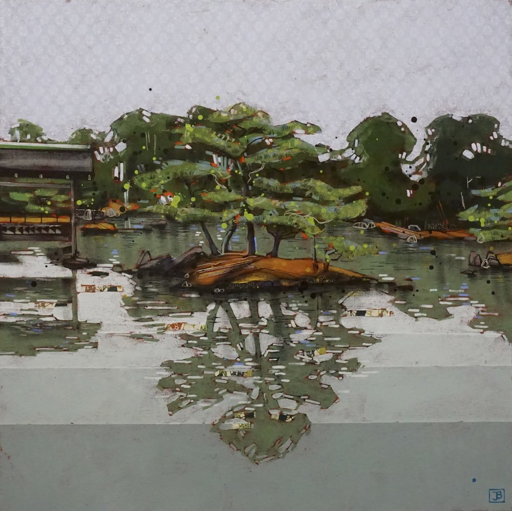 a calming reflection in the pond at the golden temple, kyoto, japan,  mixed media on canvas, 24x24(in),  SOLD ,  2018