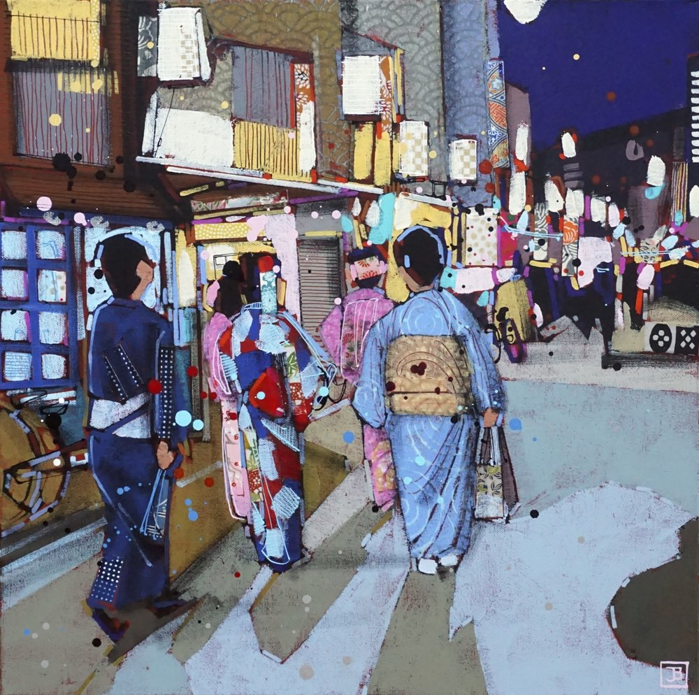 an evening in gion, kyoto, japan,  mixed media on canvas, 18x18(in),  SOLD,   2018