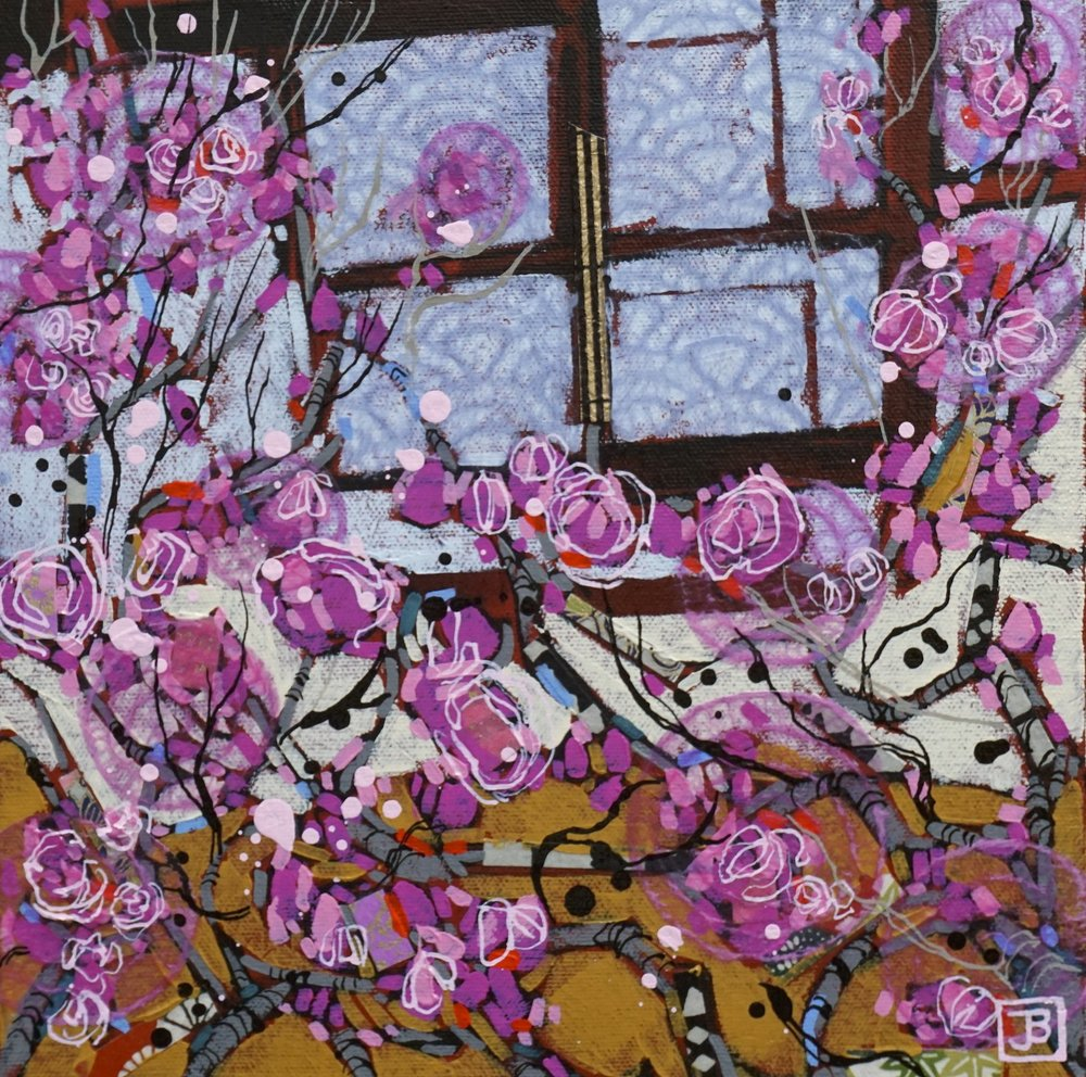 cherry blossoms II, kyoto, japan,  mixed media on canvas, 10x10(in),  SOLD,   2018