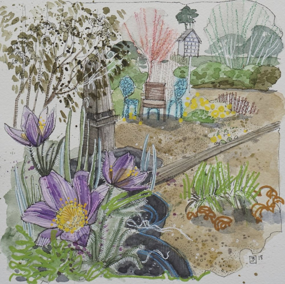 crocus in the garden,  mixed media on cold pressed paper, 8x8(in),  SOLD ,  2018