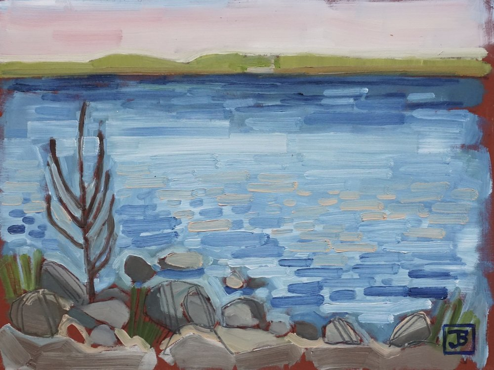 the view across lac la biche on a may evening,  oil on masonite, 9x12(in), $150 + GST,  2018