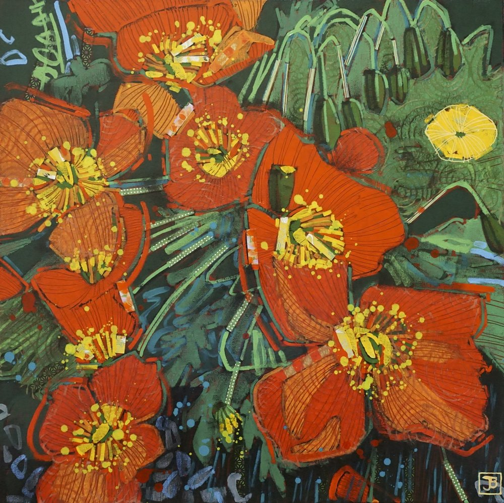 orange poppies,  mixed media on canvas. 20x20(in),  SOLD,   2018
