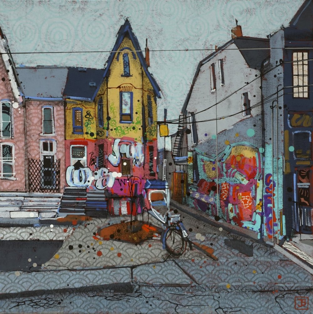 old houses, kensington market, TO,  mixed media on canvas, 18x18(in), $570 + GST,  2018