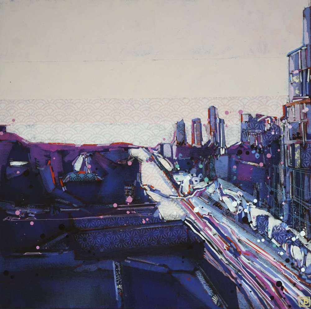 sunset on bloor, TO,  mixed media on canvas, 24x24(in), $1010 + GST,  2018