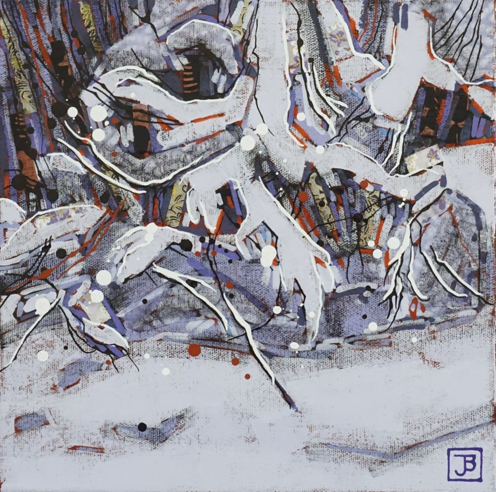 early october snowfall I,  mixed media on canvas, 10x10(in), $175 + GST,  2018