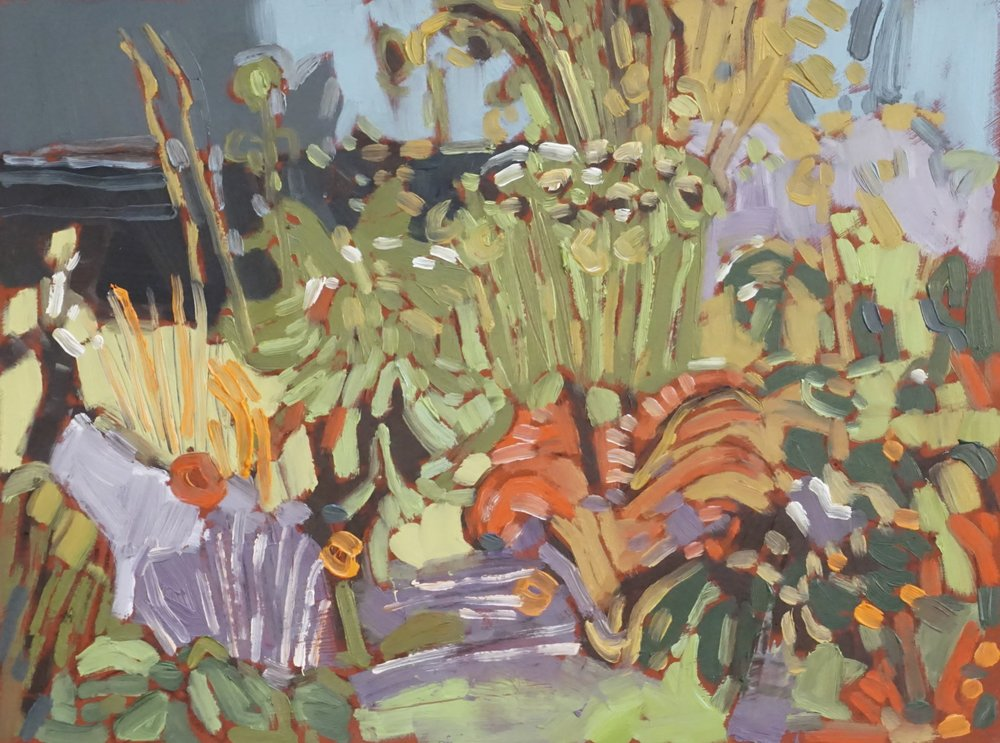 autumn garden,  oil on masonite, 9x12(in), $150 + GST,  2018