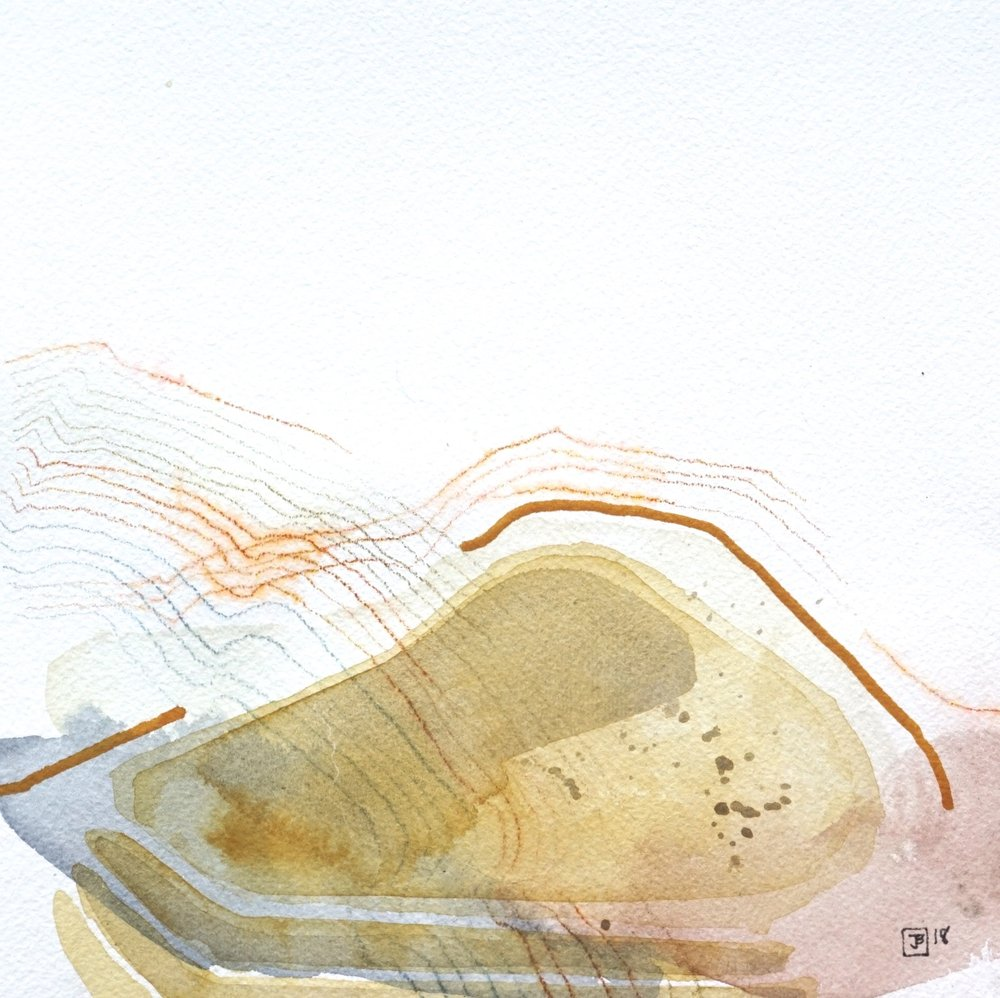 sand dune II,  mixed media on cold pressed paper, 8x8(in), $80 + GST,  2018