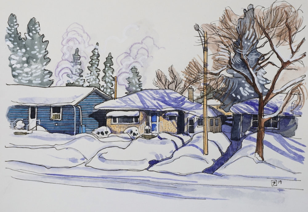 1950's bungalow, vermilion AB,  mixed media on hot pressed paper, 7x10 inches, $100 + GST,  2019