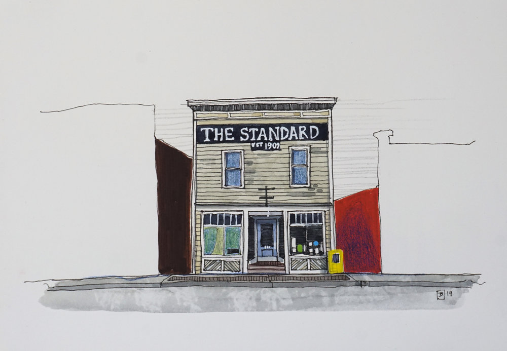the standard, vermilion AB,  mixed media on hot pressed paper, 7x10 inches, $100 + GST,  2019