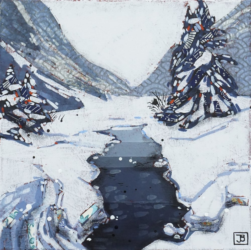 louise creek, lake louise, banff national park,  mixed media on canvas, 12x12(in), $290 + GST,  2019