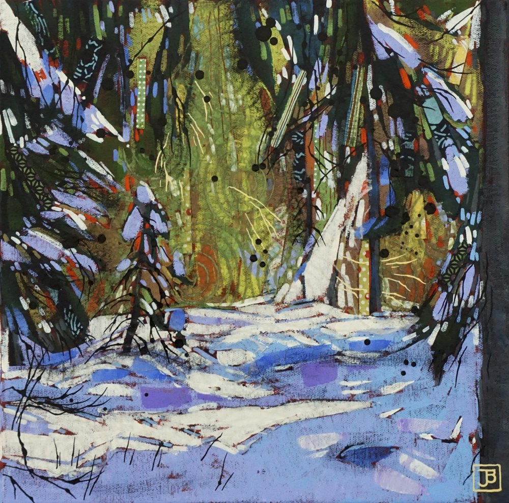 backlit, johnston canyon, banff national park,  mixed media on canvas, 12x12(in), $290 + GST,  2019