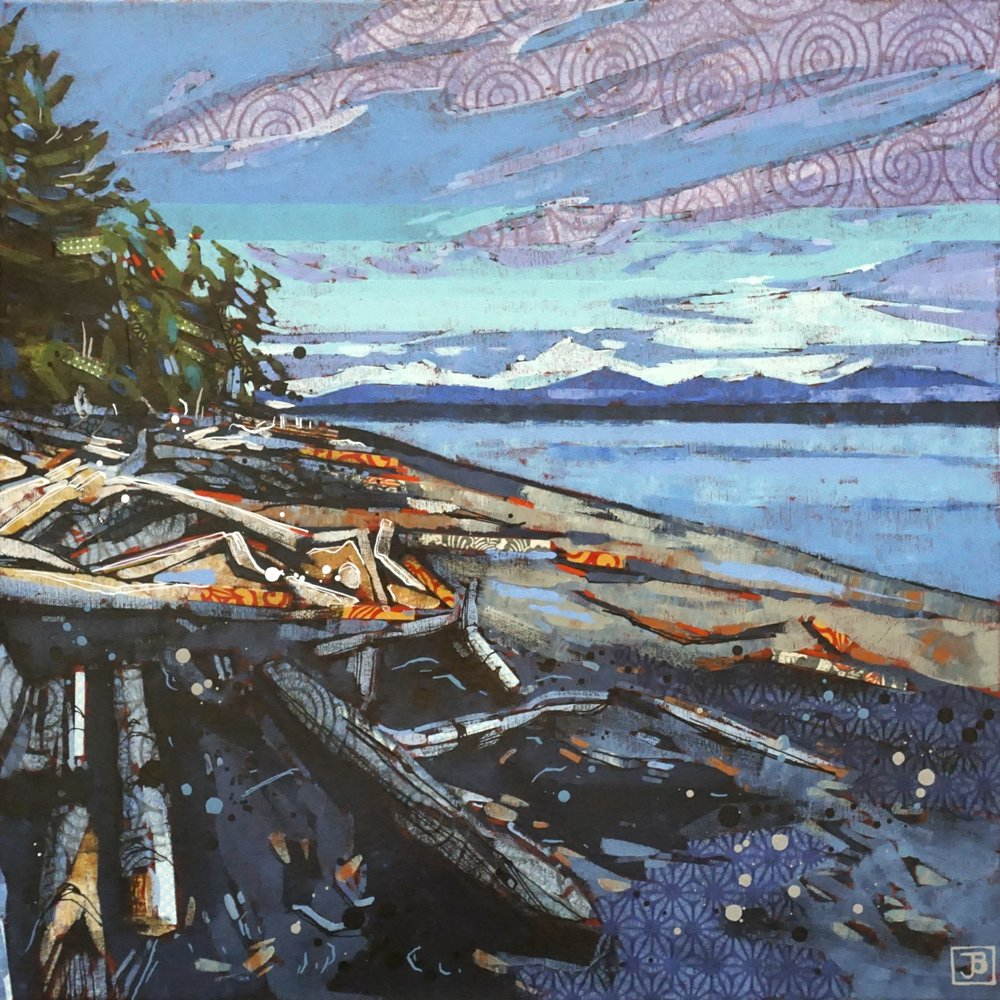 """bere point, sointula bc II,  mixed media on canvas, 20"""" x 20"""", $800 + GST,  2019"""