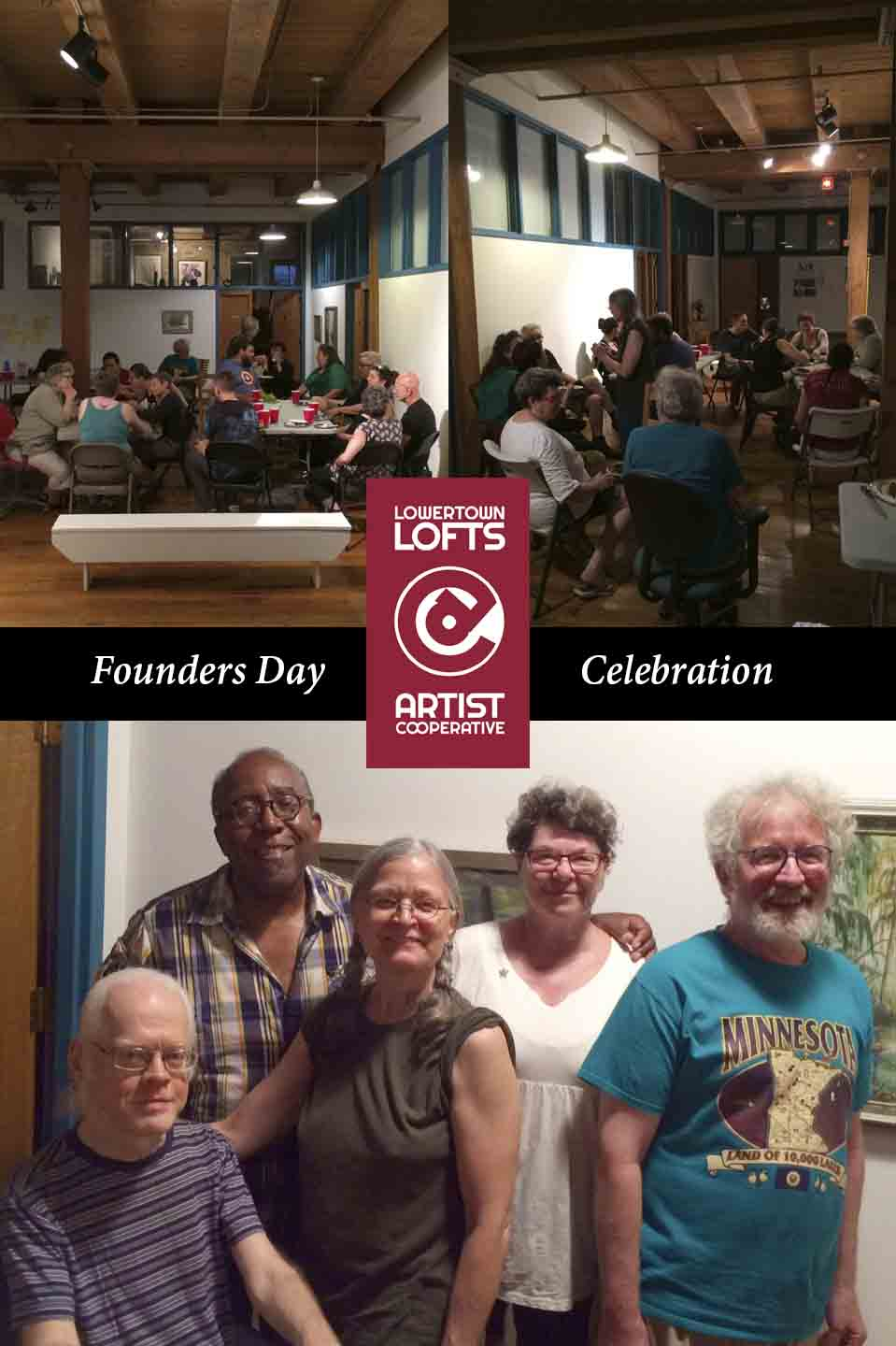 Founding members still living at Lowertown Lofts Cooperative. Left to right: David Eric Oie, Ta-coumba Aiken, Judith Morem, Marla Gamble, and Bob McBride.