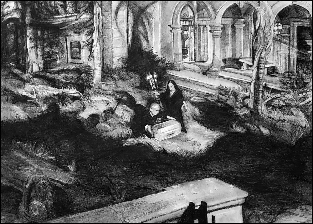 All Souls Day, 2018. The chimpanzee funeral in  Sunset Boulevard  (Billy Wilder, 1950); with Erich von Stroheim and Gloria Swanson - Various graphite and Cretacolor Nero pencils, Stonehenge paper