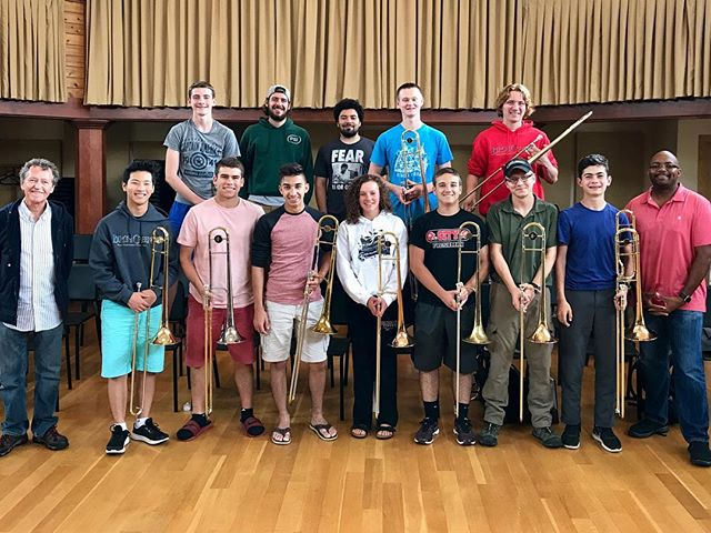 We're approaching the end of another great two-week session of mentoring talented students and performing with world-class musicians @birchcreekmusic. #jazz #trombones #doorcounty.