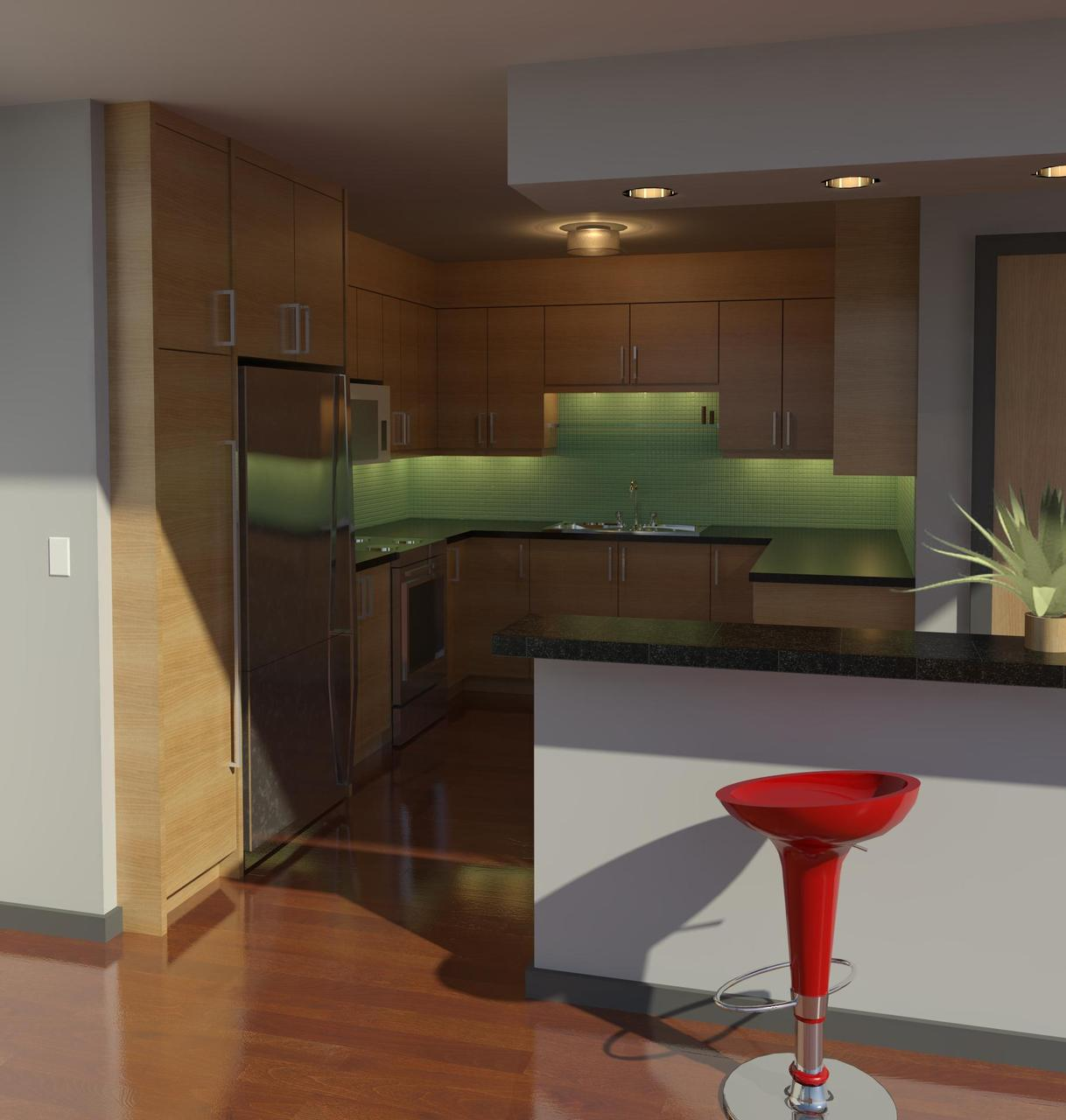 Inertia's first interior rendering, showing a proposed kitchen renovation. The actual kitchen is now substantially done and looks to match this image quite closely…