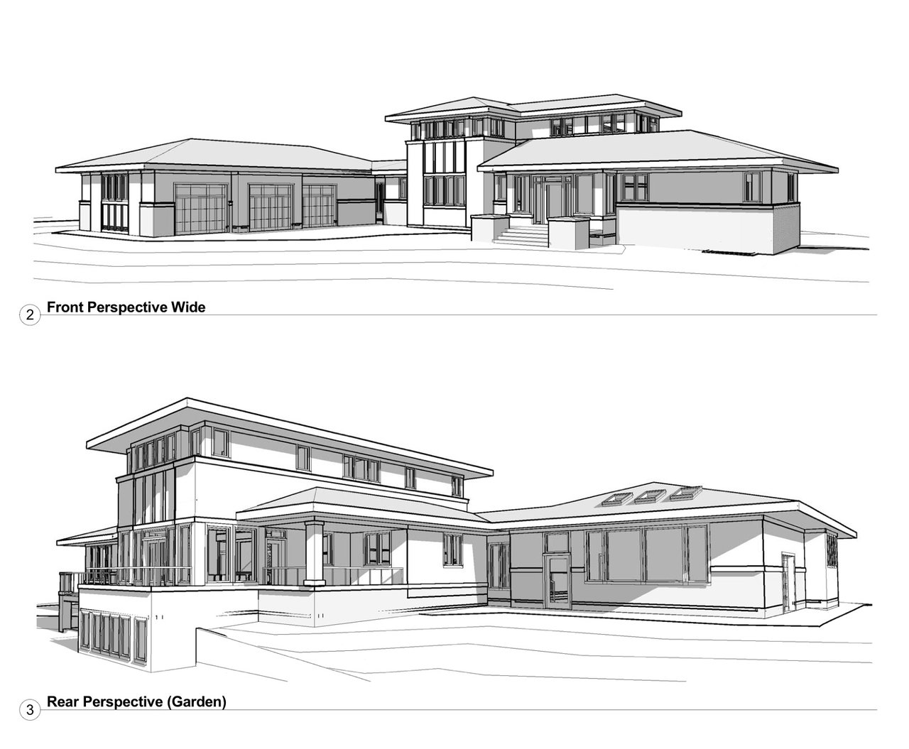 A Prairie Style inspired project currently submitted to architectural controls.