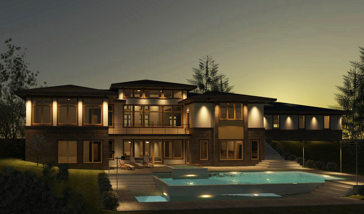 A sunset rendering of the foothills bungalow.