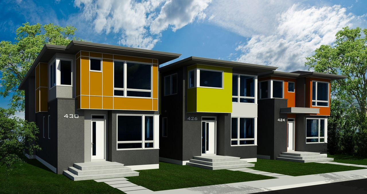 The Development Permits for this trio of houses in Bridgeland were just submitted. Final decisions on the colors haven't been made yet, so we picked some fun colors for these renderings.