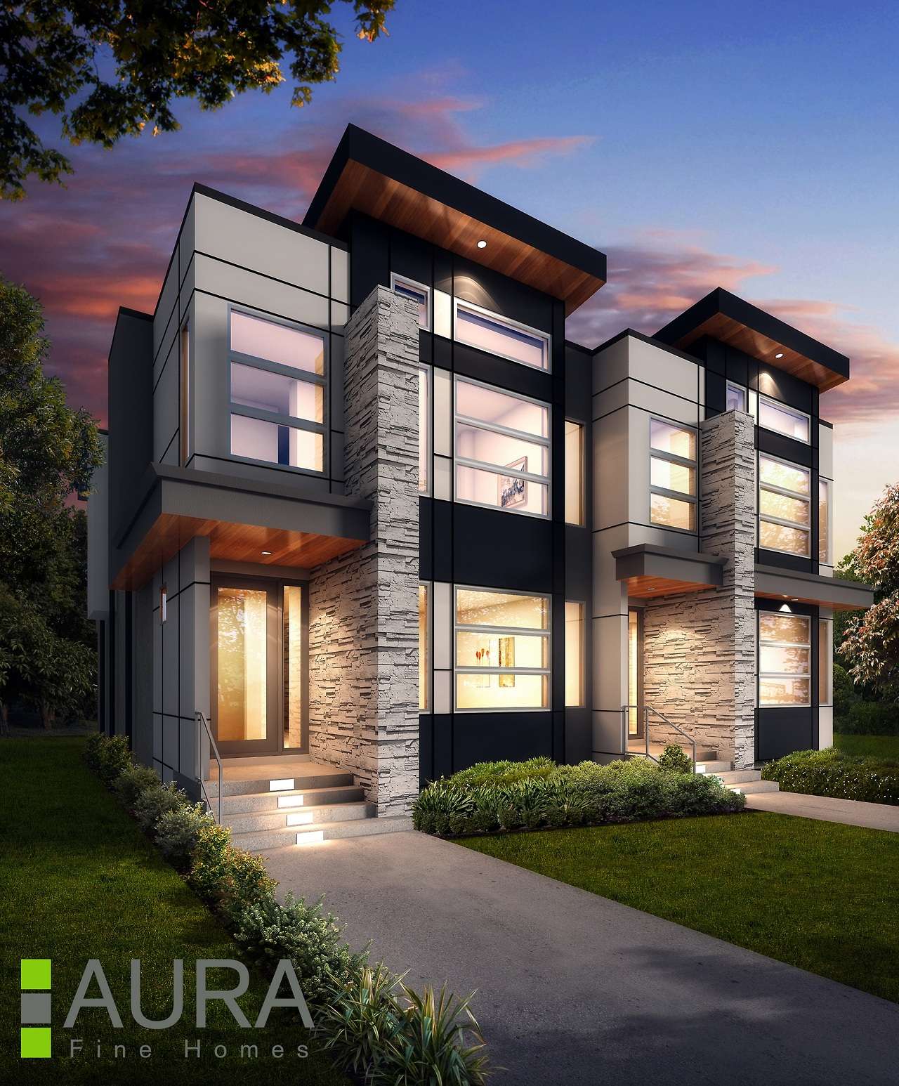 We designed this Killarney Semi-Detached for Aura Fine Homes. It has been under construction for several months now, and we'll try to get some construction photos up soon!
