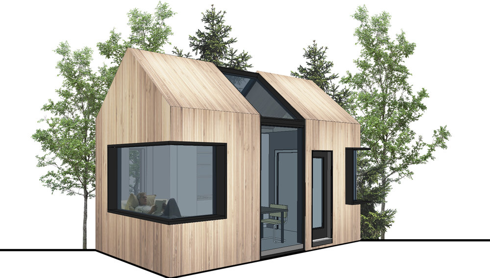 Perspective elevation of the small Micro-Home.