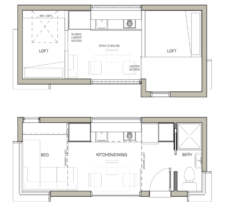 Main and second floor plans of the large Micro Home.