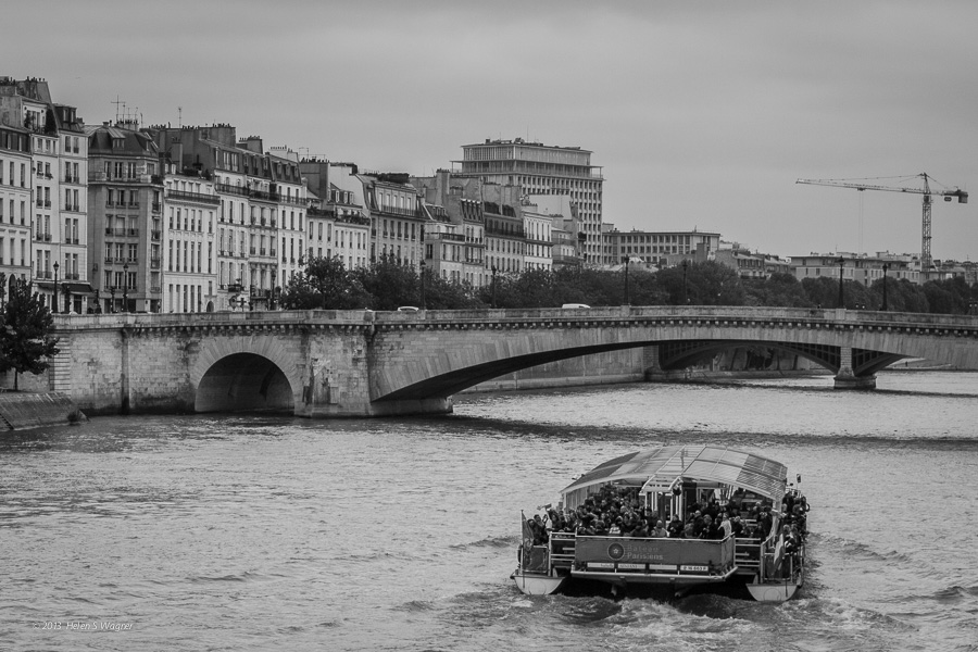Sightseers cruise the Seine.