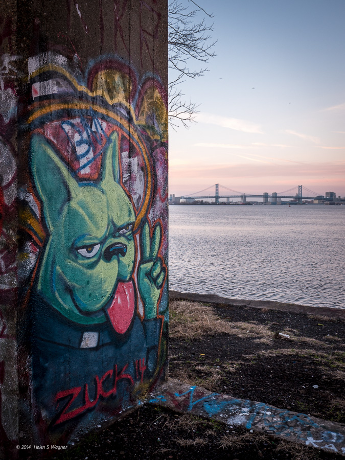 A fabulous painting in the Graffiti Underground looks over the Ben Franklin Bridge that links Philadelphia to Camden, New Jersey.
