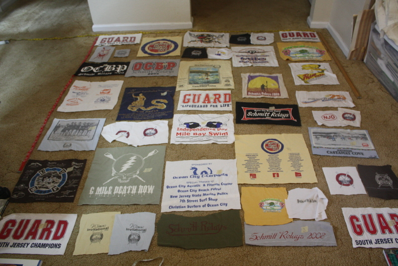 Logos laid out before the addition of cotton fabrics.