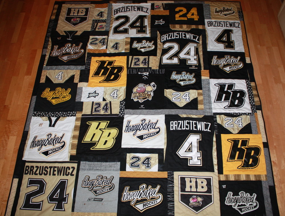 College Hockey Player Quilt