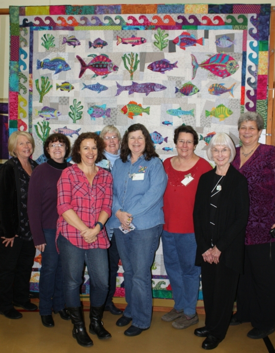 Here I am with a few of the ladies that helped me work and complete this quilt.