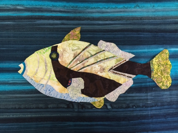 Completed triggerfish almost ready to be quilted.