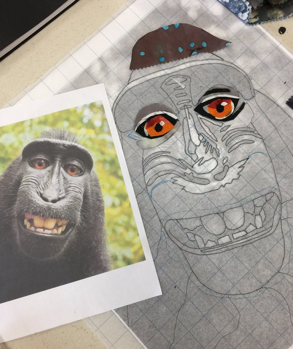 Work starting on the monkey portrait