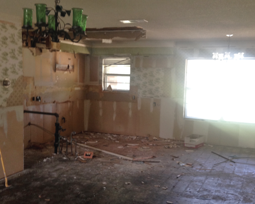 Here's a view of the old kitchen and breakfast nook. This was after all the major demo was done.