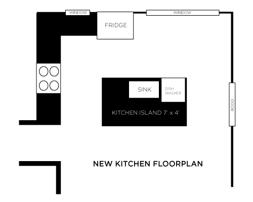 The kitchen island spans 7' wide and 4' deep.