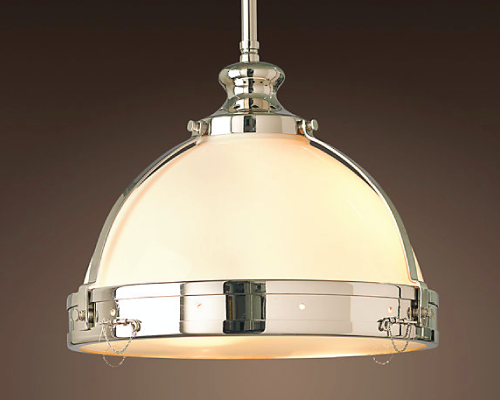 Such a great piece of lighting. I love the classic white translucent glass that pairs well with the nickel finish. You can find it here at RH.