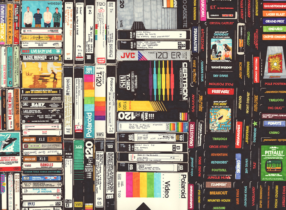 Cassettes, VHS & Atari  permanent marker on paper  22 1/2 x 30 inches  hbt12-p011 2012