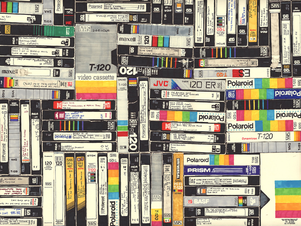 VHS   permanent marker on paper 22 1/2 x 30 inches 2010  Private Collection
