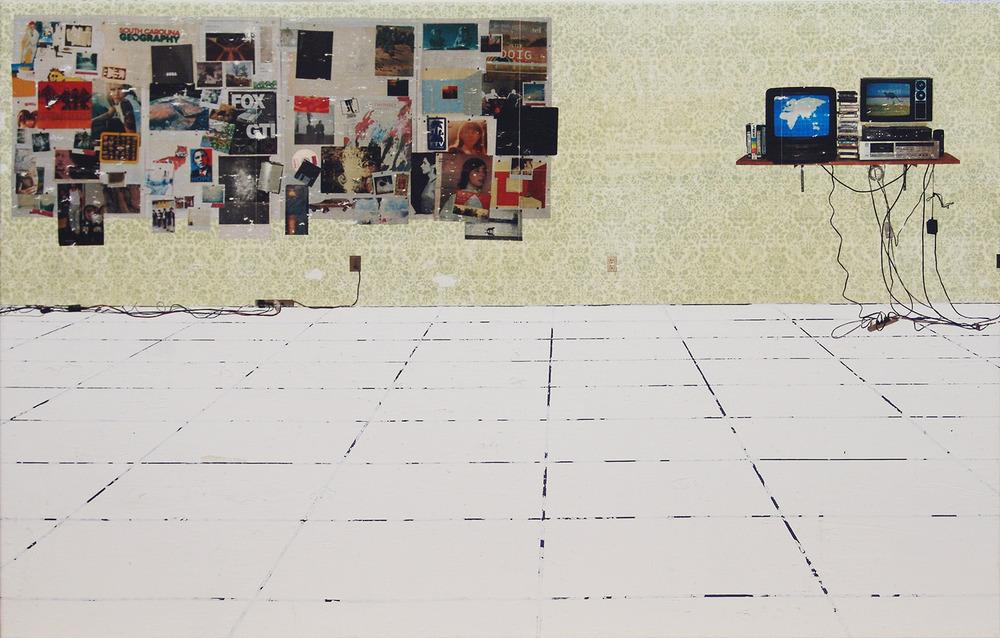 Pinwände und Elektrizität Auf dem Rücken der Riesenschildkröte, acrylic, pigment transfer on canvas, 30 x 46 inches, hbt08-41, 2008, Private Collection