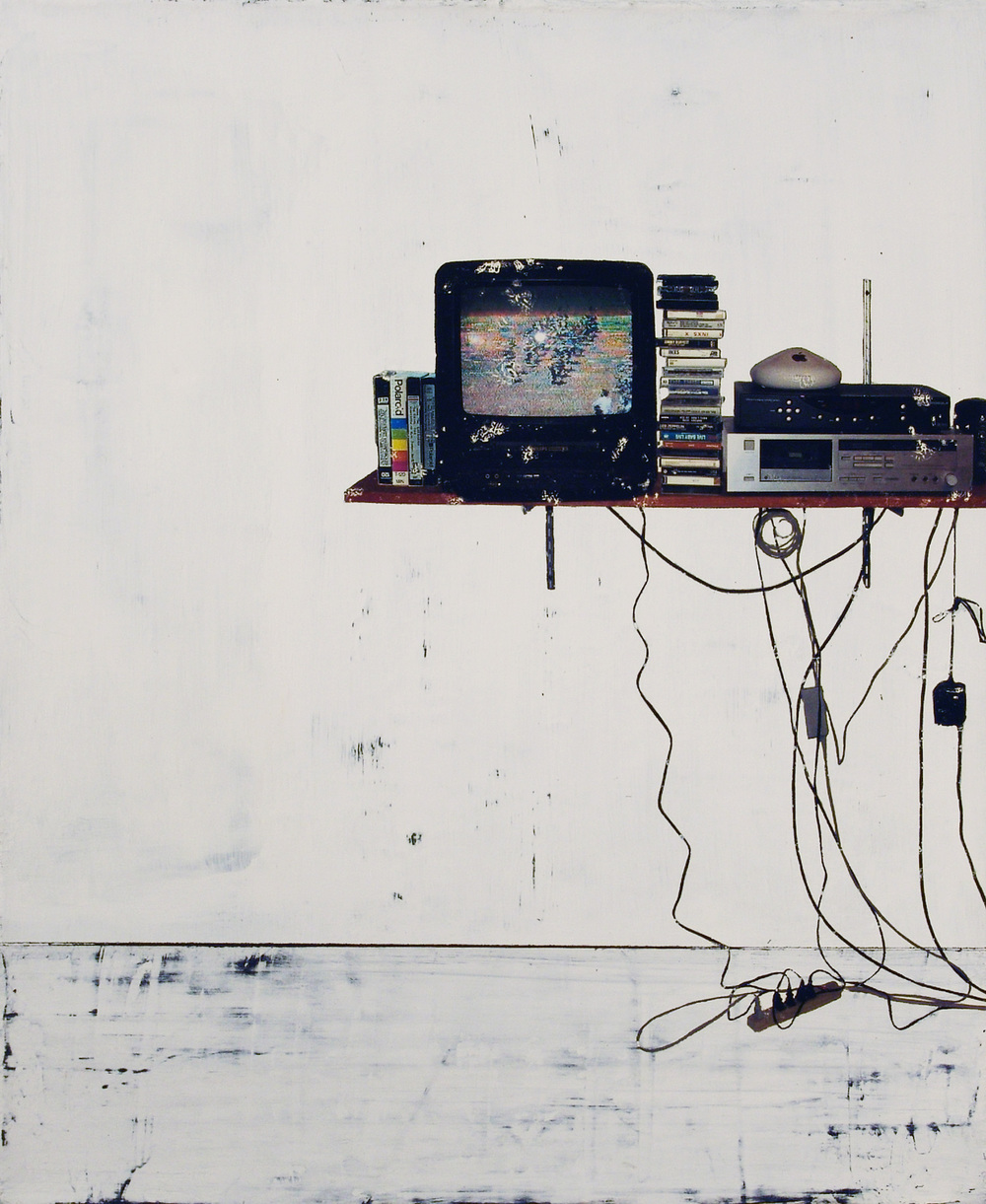 TV Room (May Day), pigment transfer, acrylic on canvas, 26 x 22 inches, hbt09-02, 2009, Private Collection