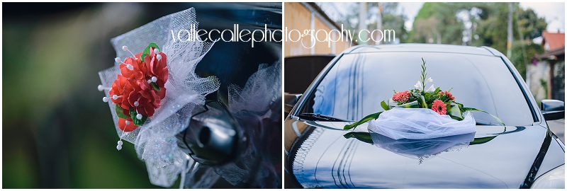 Originally, the couple had rented a vintage 40's car that was the perfect compliment to their theme.... but like I said, things hardly ever go as planned during a wedding and that's OK! Something happened to that car, but fortunately that is what friends are for! Not only did they saved the day, but the couple's friends decorated the car so beautifully! ♥   Now let's move on and allow me to bombard you with detail shots! :)