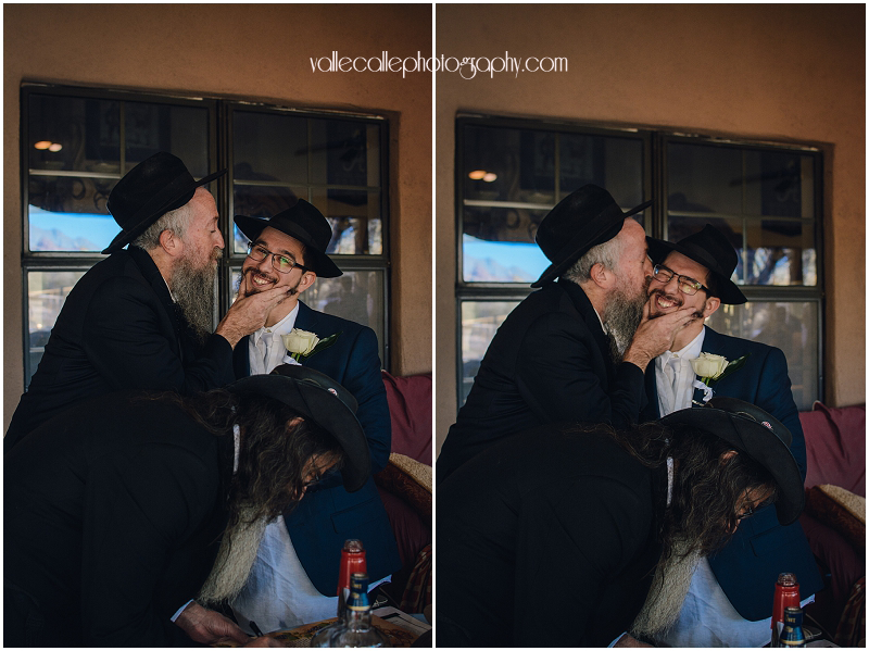Rabbi congratulates the groom