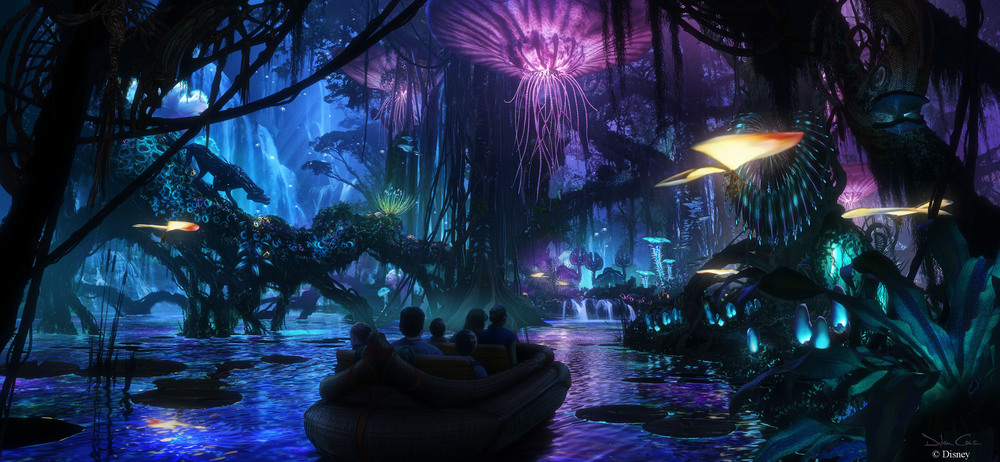 Walt Disney Imagineering in collaboration with filmmaker James Cameron and Lightstorm Entertainment is bringing to life the mythical world of Pandora, inspired by Cameron's AVATAR, at Disney's Animal Kingdom theme park. The awe-inspiring land of floating mountains, bioluminescent rainforests and soaring Banshees will become real for Disney guests to see, hear and touch. Scheduled to open in 2017, the AVATAR-inspired land will be part of the largest expansion in Disney's Animal Kingdom history. (Concept art, Walt Disney Imagineering)
