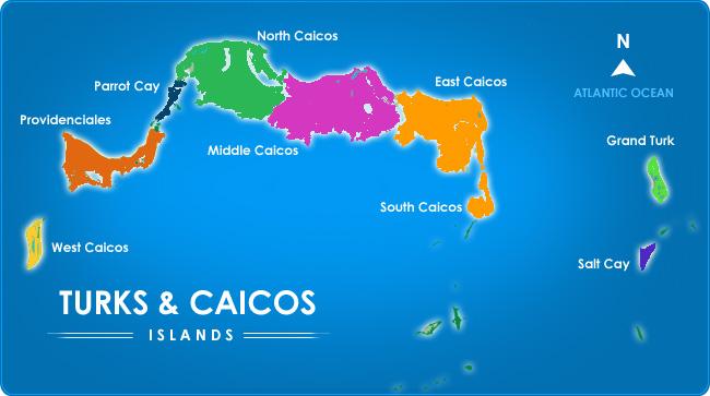 Turks and Caicos cuenta conocho islas principales y más de 20 islas más pequeñas (en su mayoría inhabitadas) sumando 417 kilómetros cuadrados